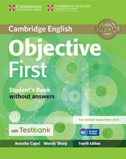 Objective First Student's Book without Answers with CD-ROM with Testbank, Capel Annette, Sharp Wendy